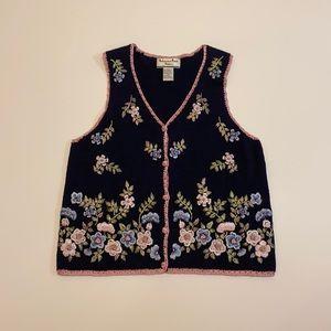 Vintage floral knit vest sweater